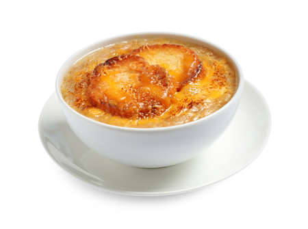 Tasty homemade french onion soup isolated on white Stock fotó