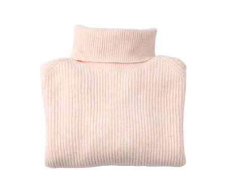 Folded pink turtleneck sweater isolated on white, top view
