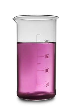 Glass beaker with purple liquid sample isolated on white. Laboratory analysis