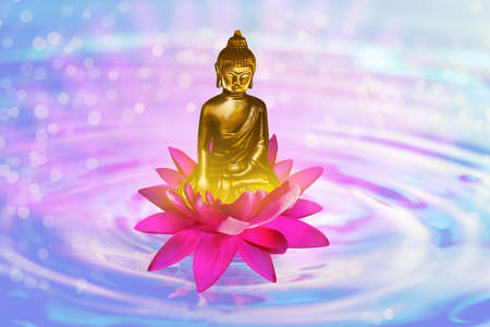 Lotus flower with Buddha figure on water, bokeh effect