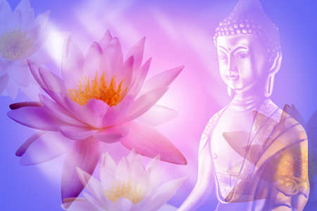 Double exposure of lotus flowers and Buddha figure Stock Photo