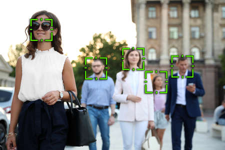 Facial recognition system identifying people on city street