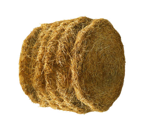 Dried hay bale isolated on white. Agriculture industry 版權商用圖片