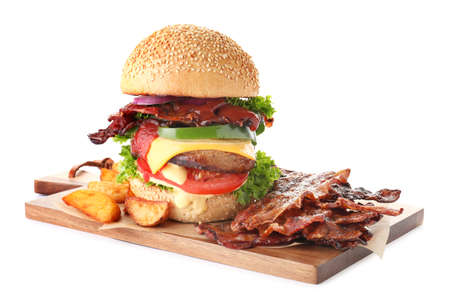 Tasty burger with bacon on white background Banque d'images