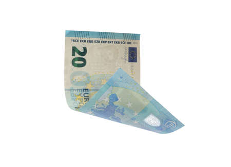 20 Euro banknote flying on white background