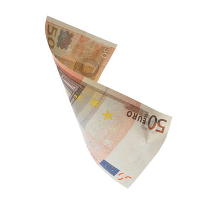 50 Euro banknote flying on white background Stock fotó
