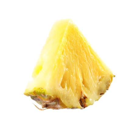 Slice of fresh pineapple isolated on white Archivio Fotografico
