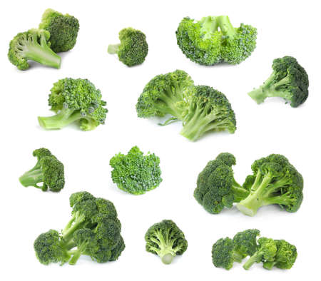 Set of fresh green broccoli on white background