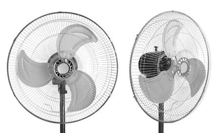 Fan on white background, collage with views from different sides
