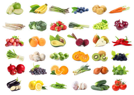 Assortment of organic fresh fruits and vegetables on white background Imagens