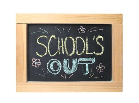 Chalkboard with text School's Out and drawings isolated on white. Summer holidays