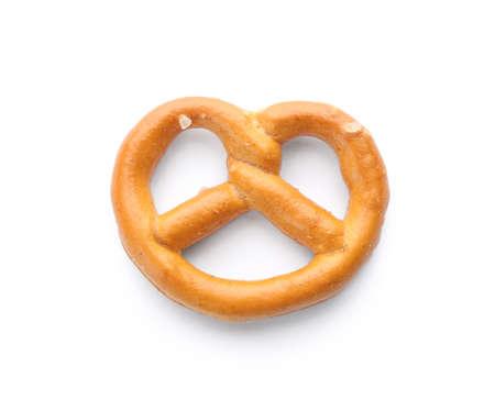 Delicious crispy pretzel cracker isolated on white, top view