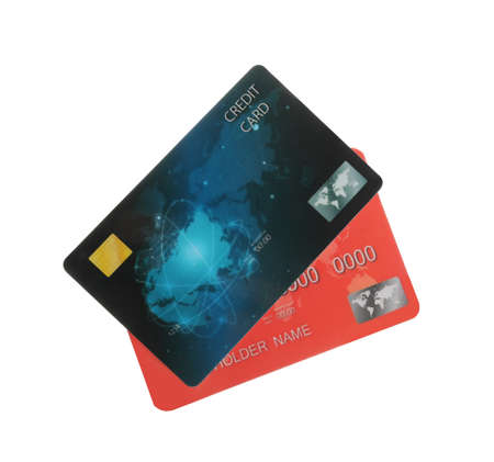 Different plastic credit cards on white background