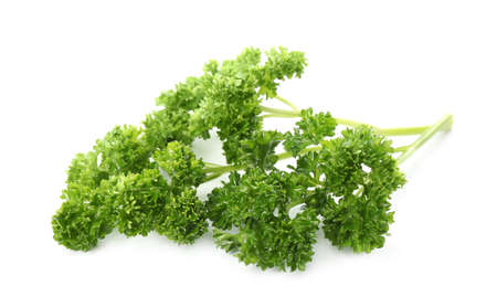 Fresh green curly parsley on white background Stock fotó