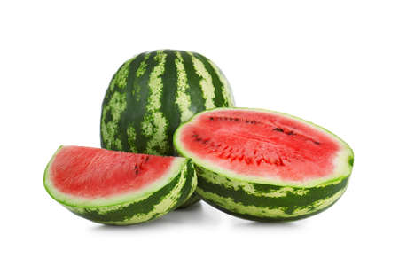 Delicious whole and cut watermelons isolated on white