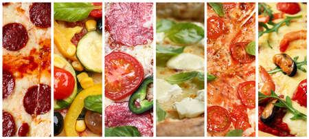 Collage with different pizzas, closeup view. Banner design