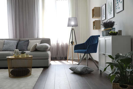 Elegant living room with comfortable sofa and armchair near window. Interior design