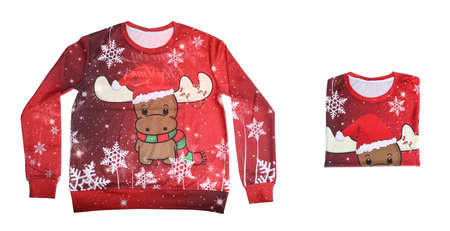 Collage with red Christmas sweater on white background 版權商用圖片