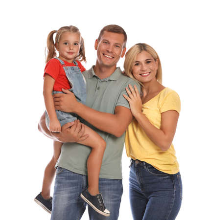 Happy family with daughter on white background