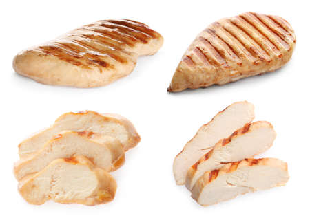 Set of grilled chicken on white background