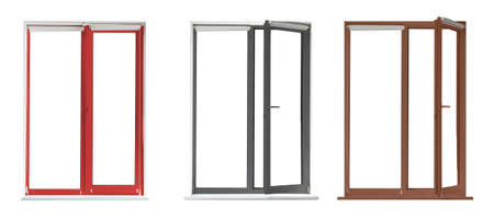 Set of modern windows in different colors on white background. Banner design Banque d'images