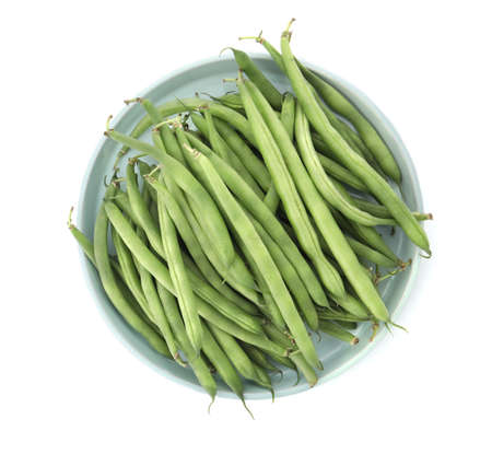 Fresh green beans isolated on white, top view