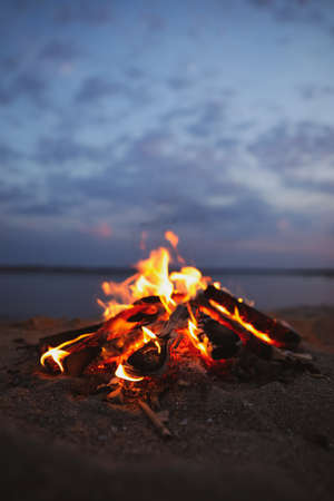 Beautiful bonfire with burning firewood on beach