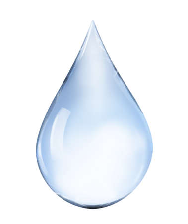 Blue water drop illustration on white background Stock Photo