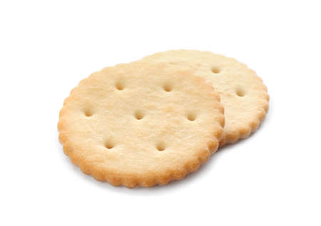 Crispy crackers isolated on white. Delicious snack