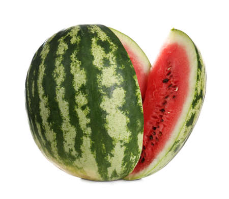 Delicious ripe cut watermelon isolated on white