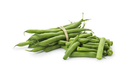 Delicious fresh green beans on white background