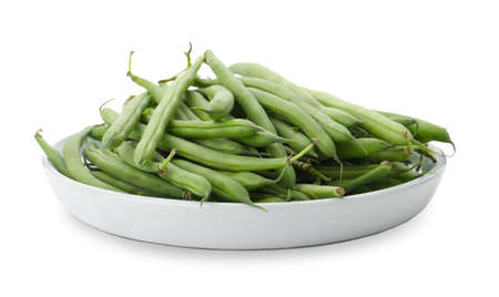 Delicious fresh green beans isolated on white 版權商用圖片