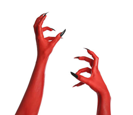 Scary monster on white background, closeup of hands. Halloween character