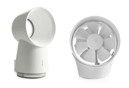 Two different modern fans on white background