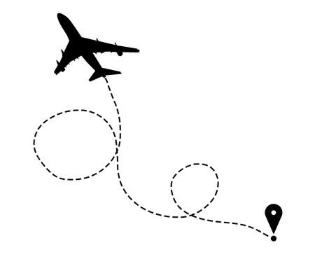 Flight direction illustration. Plane silhouette and pin connected by dashed line on white background