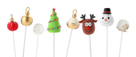 Set of Christmas themed cake pops on white background. Banner design