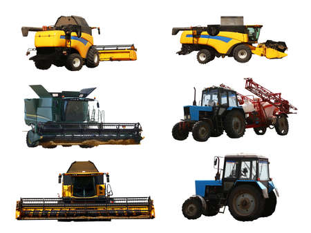Set of different agricultural machinery on white background Фото со стока
