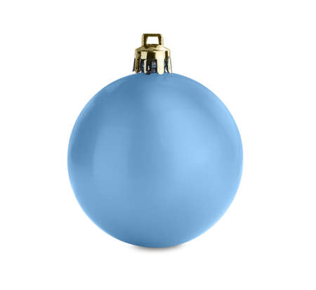 Beautiful light blue Christmas ball isolated on white