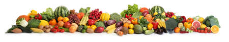 Collection of fresh organic vegetables and fruits on white background. Banner design