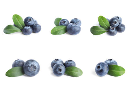 Set of fresh blueberries with green leaves on white background