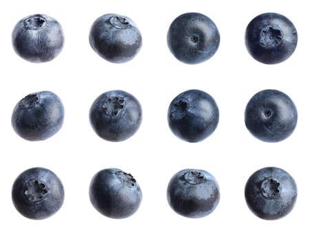 Set of fresh blueberries on white background