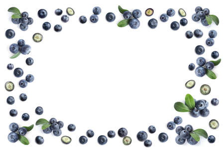 Frame of fresh blueberries on white background, top view