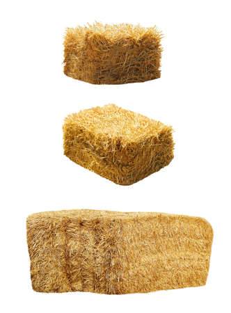 Set of hay bales on white background. Agriculture industry