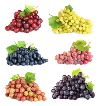 Set of fresh grapes on white background