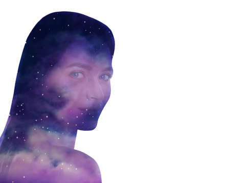 Universe hidden in human, mindfulness, imagination, art, creativity, inner power concepts. Silhouette of woman and starry sky or galaxy on white background, double exposure