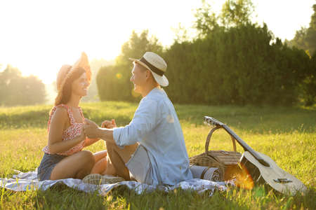Happy couple with guitar and picnic basket in park on sunny day Standard-Bild