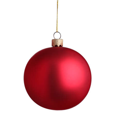 Beautiful red Christmas ball isolated on white Imagens