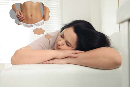 Overweight woman seeing dreams about slim body while sleeping. Weight loss concept