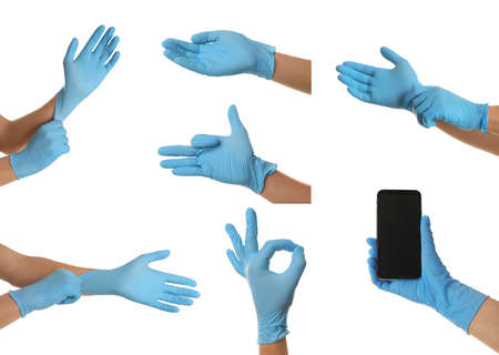 Protect your hands - wear rubber gloves. Photos in collage on white background