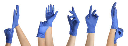 Protect your hands - wear rubber gloves. Photos in collage on white background, banner design
